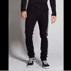 RSQ Seattle Skinny Tapered Checkered Stripe Jeans